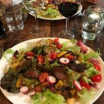 Chicken liver salad with new potatoes