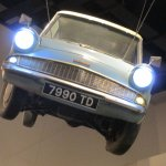 A flying Ford Anglia.