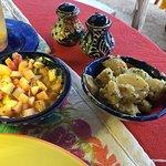 Fruit and garlic potato accompaniment