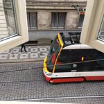 Street view from suite, train outside hotel (not noisy in my room)