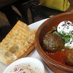 Les Boulettes (Moroccon lamb meatballs with poached eggs)