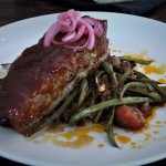Salado Creek Barbecued Meatloaf with red-skin potatoes and stewed green beans!