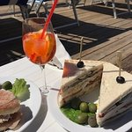 Spritz and a Club Sandwich at the beach