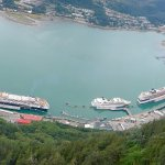 View from the top of the cruise liners in port