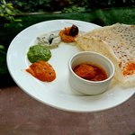 Appam with Chicken Curry and South Indian chutneys