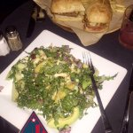 Brussels Sprout / Kale Salad & Steak Sandwich.