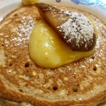 Holiday spiced Gingerbread Pancakes with fresh grated Ginger topped with Lemon Curd and Bosc Pea