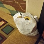 This was our welcome at Holiday Inn Express San Francisco, A bag of garbage