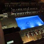 Lit pool near bar area.