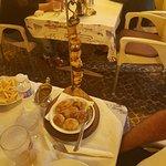 Monk fish kebab, very well presented