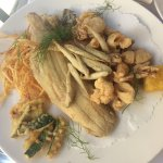 deep fried platter of fish and vegetables
