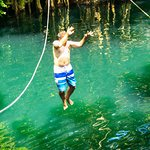 Jumping from the cenote zipline