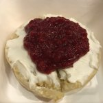 """The Princess"": Cream cheese and homemade raspberry jam on a crumpet!"
