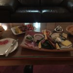 Our fresh fruit, cheese and meat platter at the lodge