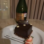 Champagne and Chocolate Cake waiting in our room