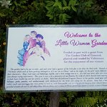Sign within the garden.