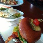 Bacon chedder burger and salad