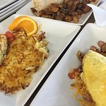 a sneak peak at our huge A-10 burrito and a Tri Motor omelet