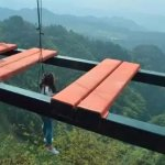 Called the 'Sky Corridor', the A-shaped walkway is located at the Wansheng Mountain Scenic Area,