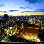 View from our room on 31st floor looking over towards Dotonbori area