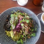mixed grains with avocado, chilli, dates, radicchio, almonds and added mushrooms