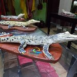 carved crocodiles look real for souvenir.