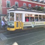 Tram by the view point in Lisbon