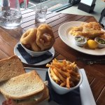 Club sandwich and haddock and chips