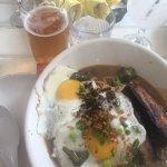 Breakfast ramen and a crisp, cold Kona Longboard.