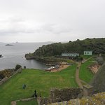 Landing and Visitor Centre from tower roof at Inchcolm Abbey