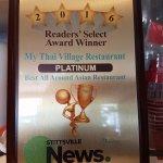 Platinum Award for best Asian