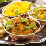 CHICKEN BHUNA WITH DAAL SAMBA AND LIME RICE AND FRESHLY BAKED NAAN