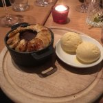 Churchill's chocolate pudding, glazed bananas at The Churchill Arms