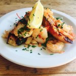 Prawn and chilli bruschetta