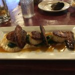 Scallops with braised pork belly, celery root puree.