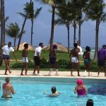 The E-Team dancing poolside! Everybody Wobble!