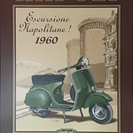 60's Poster of Naples (Napoli) with the popular Italian Scooter VESPA