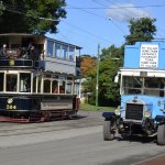 Vintage bus and tram