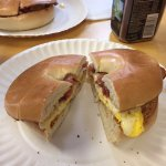 Bacon, egg and cheese bagel at Billy's