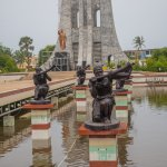 Statues of traditional musicians honor Nkrumah's memory