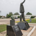Nkrumah became autocratic. The site recognizes this with a statue, its head torn off by rioters
