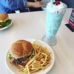 Burger & a mint shake