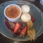 creme brulee with skyr and berries