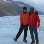 Standing on the glacier after a day of climbing.