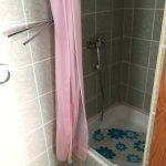 Schöner Duschvorhang und Badematte