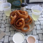 Onion Rings and Wine on the Patio