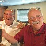 Two Old Army Buddies Enjoying Dunkel Biers at Ingrid's Bar