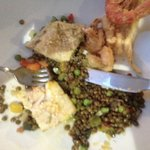 Fillet of sea bass with herbs and lentils