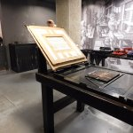 Replica printing press printing replicas of Gutenberg bible