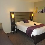 Double bed at Premier Inn Pacific Quay